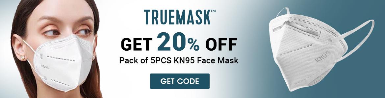 TrueMask get 20% Off pack of 5Pcs KN95 Face Mask